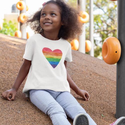 Girls heart t-shirt rainbow