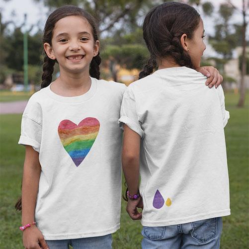Rainbow heart girls t-shirt
